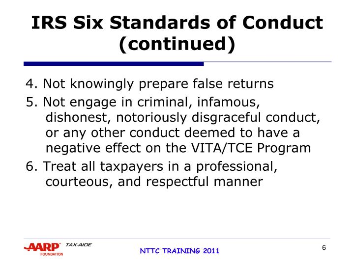 IRS Six Standards of Conduct