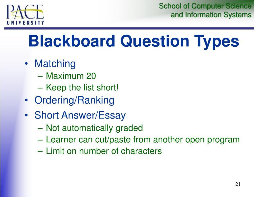 Blackboard Question Types