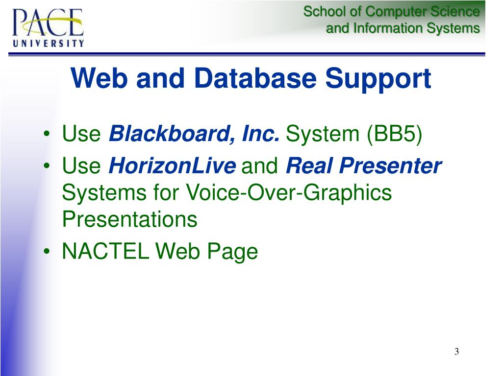 Web and Database Support