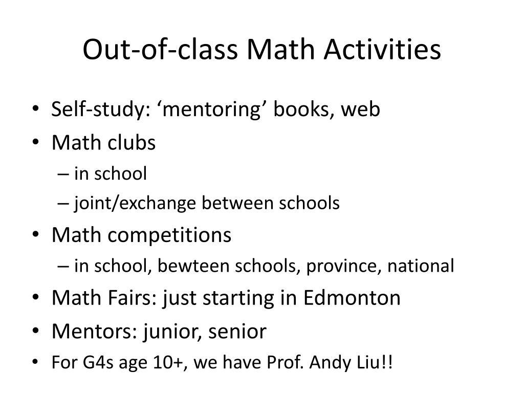 Out-of-class Math Activities