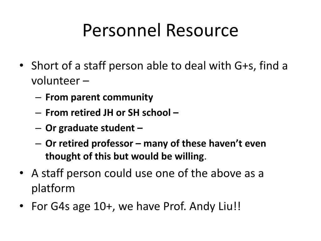 Personnel Resource