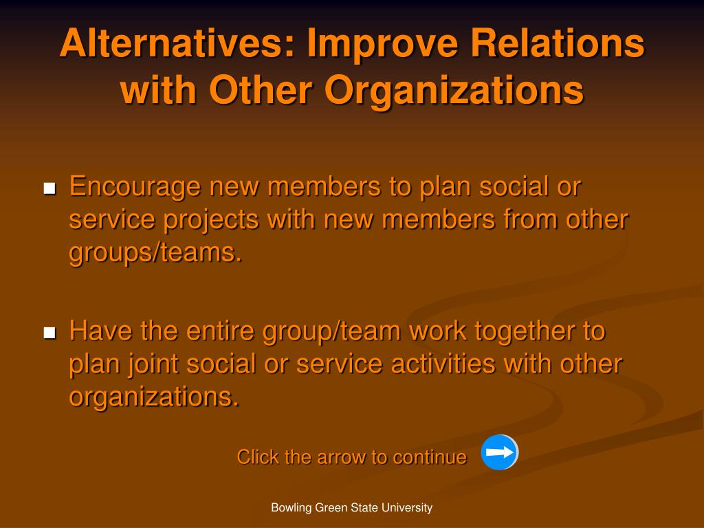Alternatives: Improve Relations with Other Organizations