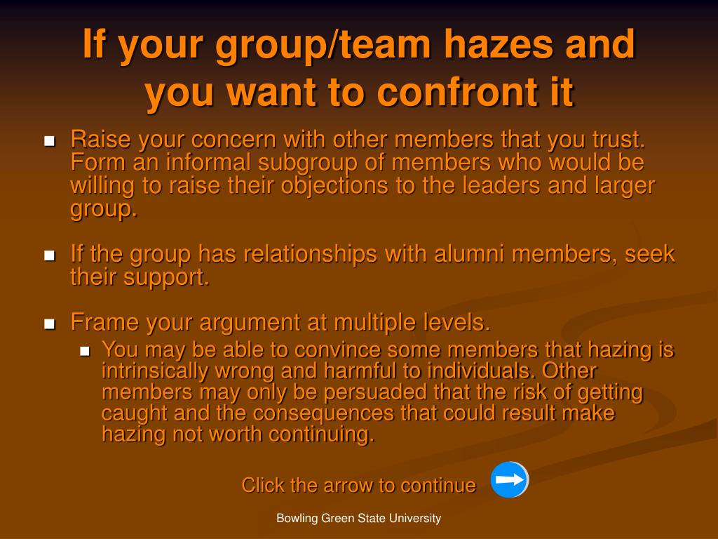 If your group/team hazes and you want to confront it