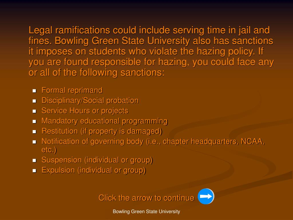 Legal ramifications could include serving time in jail and fines. Bowling Green State University also has sanctions it imposes on students who violate the hazing policy. If you are found responsible for hazing, you could face any or all of the following sanctions: