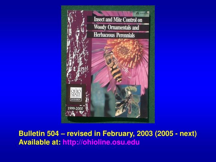 Bulletin 504 – revised in February, 2003 (2005 - next)