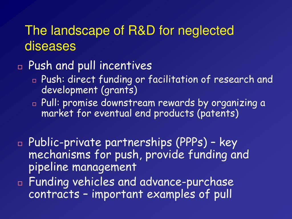 The landscape of R&D for neglected diseases