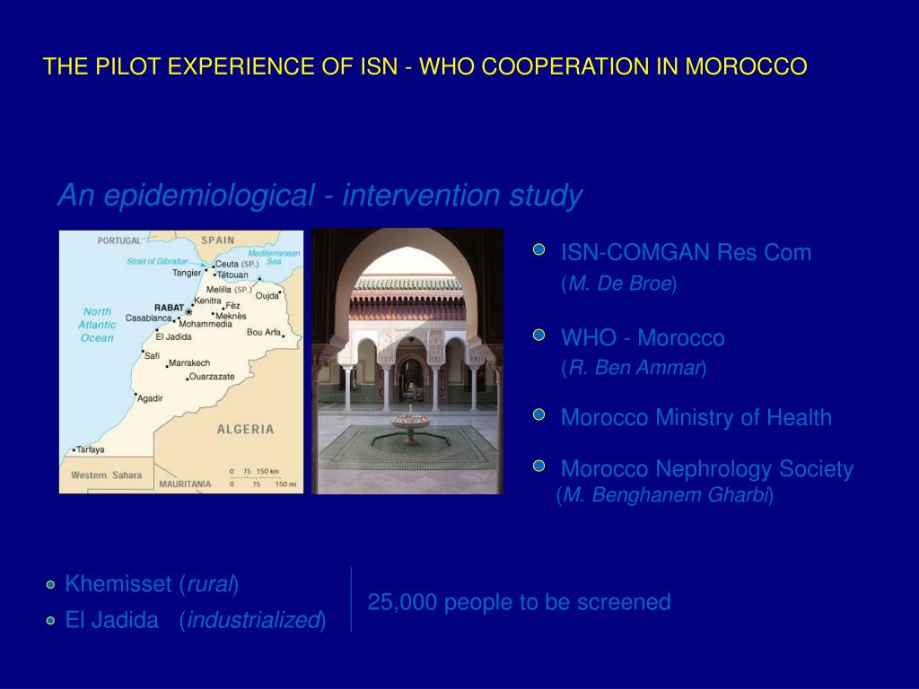 THE PILOT EXPERIENCE OF ISN - WHO COOPERATION IN MOROCCO