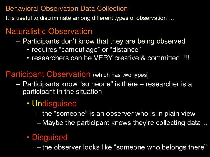 Behavioral observation data collection