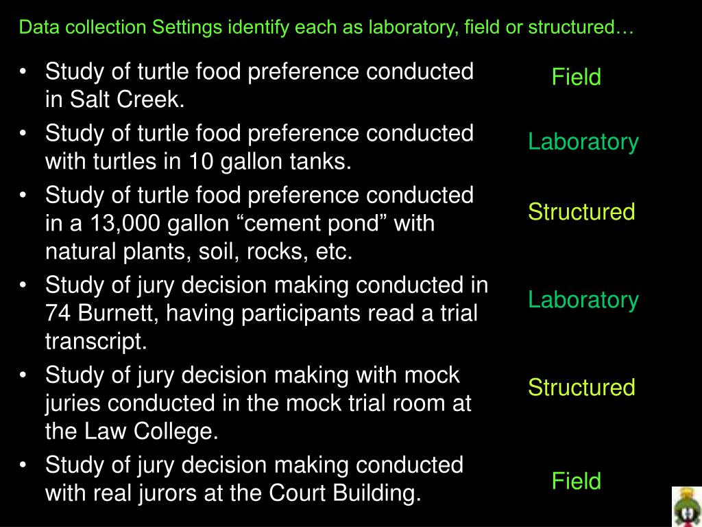 Data collection Settings identify each as laboratory, field or structured…
