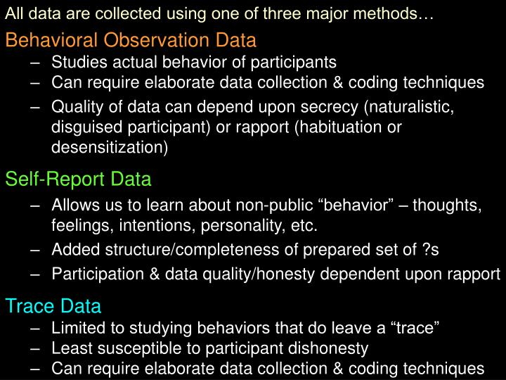 All data are collected using one of three major methods…