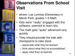 observations from school visit