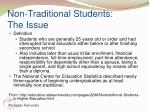 non traditional students the issue