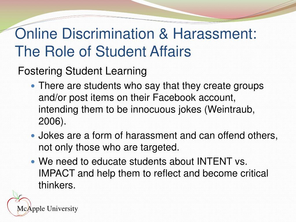 Online Discrimination & Harassment: The Role of Student Affairs