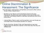 online discrimination harassment the significance18