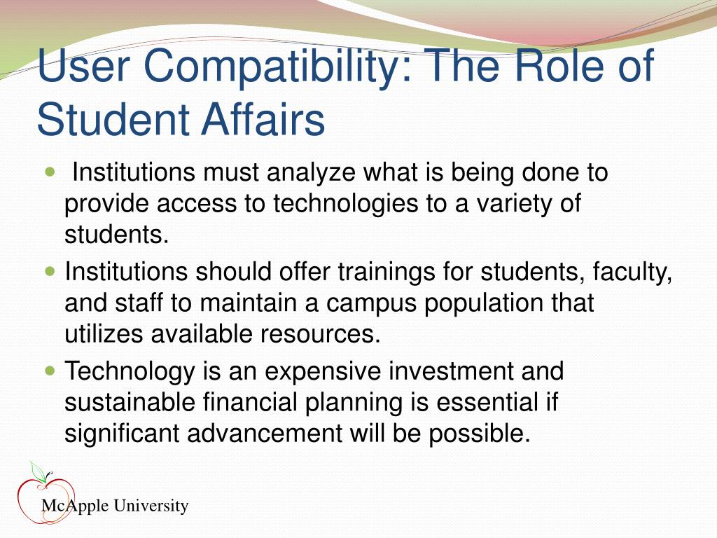 User Compatibility: The Role of Student Affairs