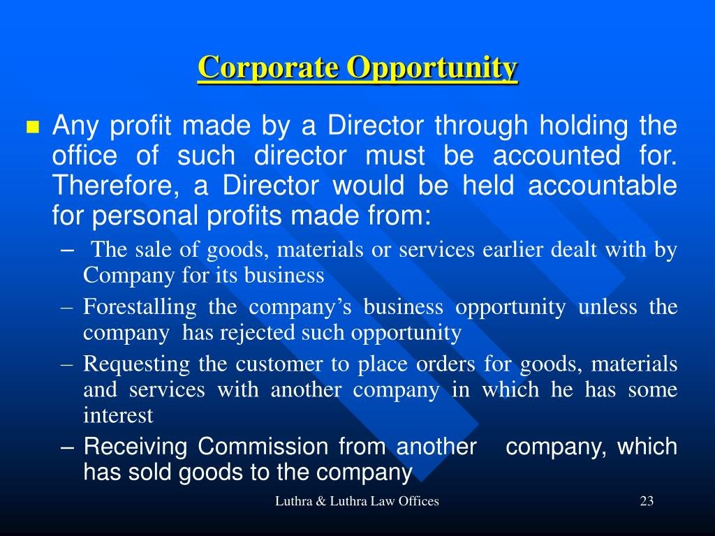 Corporate Opportunity