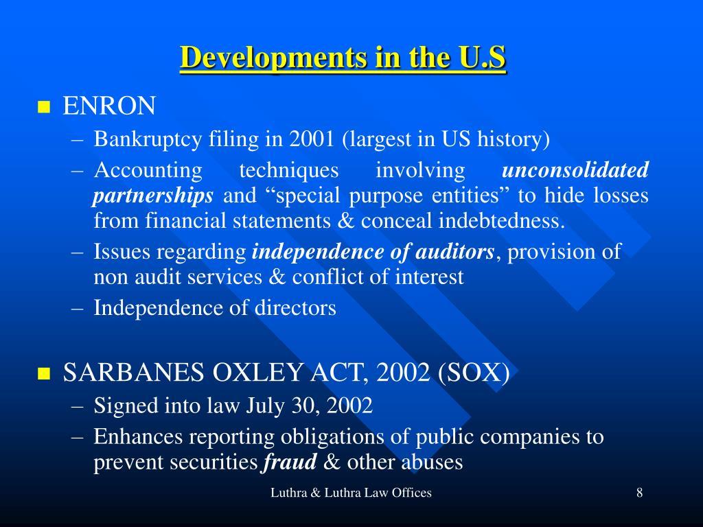 Developments in the U.S