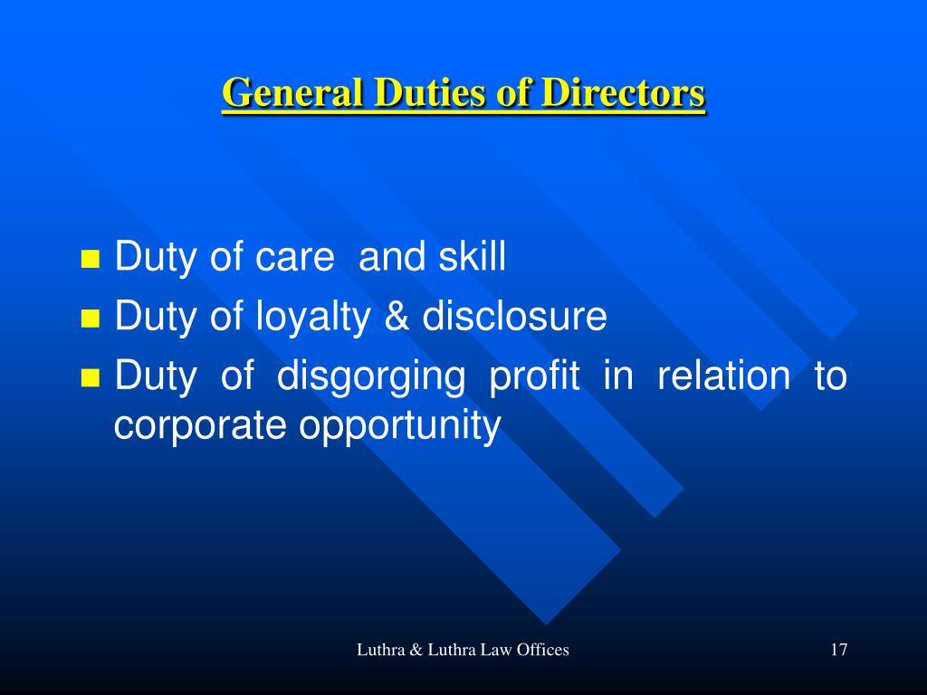 General Duties of Directors