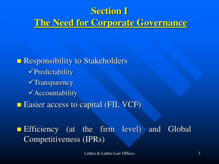 Section i the need for corporate governance