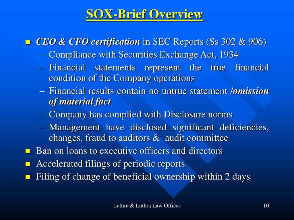 SOX-Brief Overview
