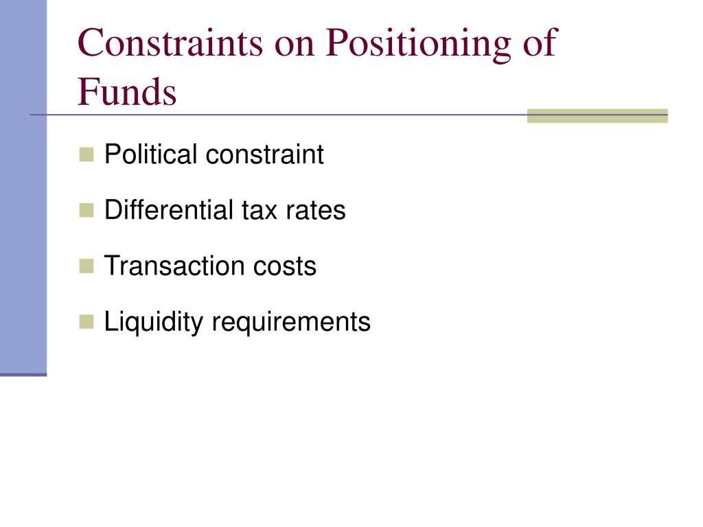 Constraints on Positioning of Funds