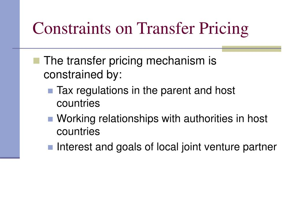 Constraints on Transfer Pricing