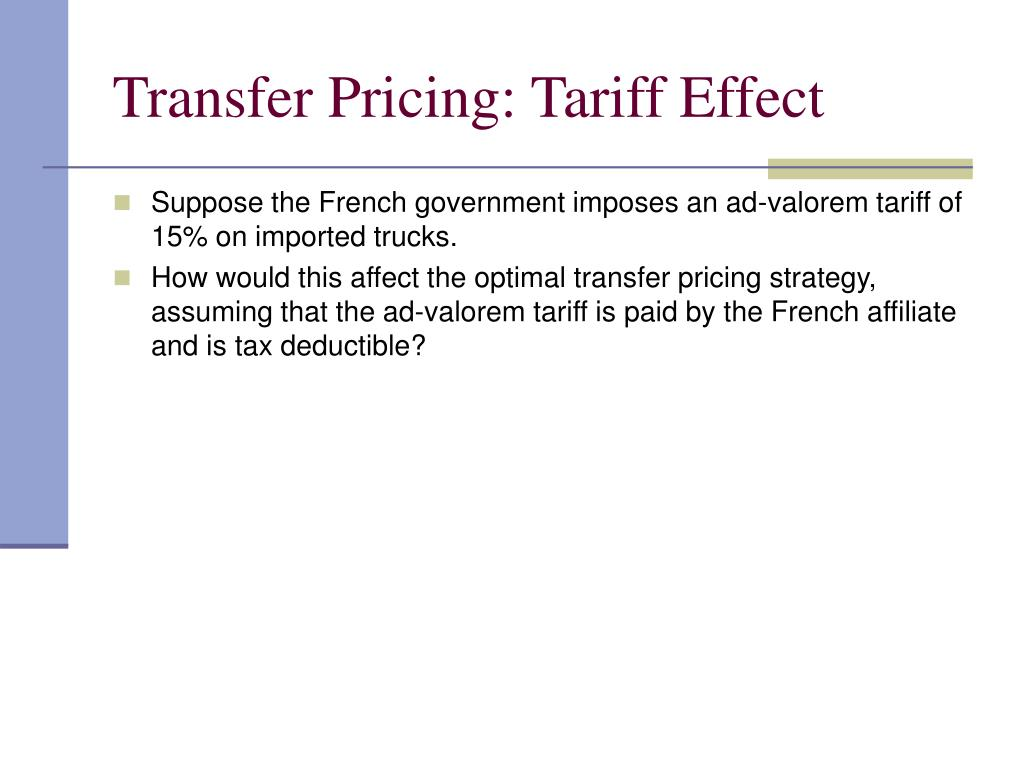 Transfer Pricing: Tariff Effect