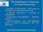 the challenge of e learning in virtual enterprises