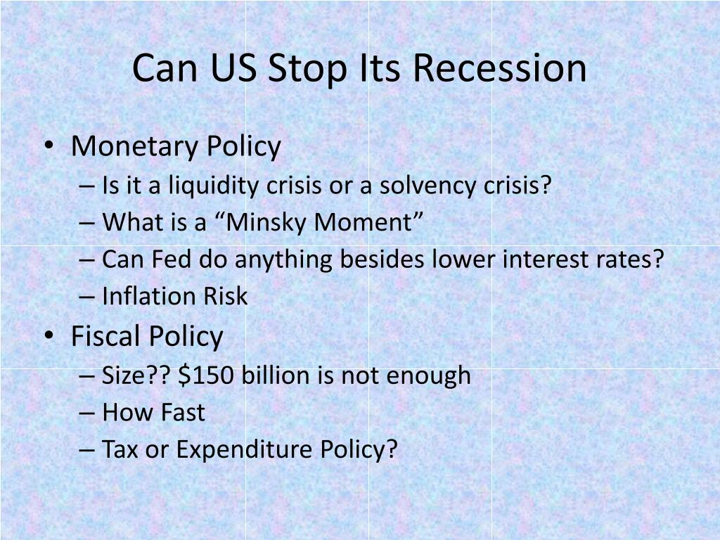 Can US Stop Its Recession
