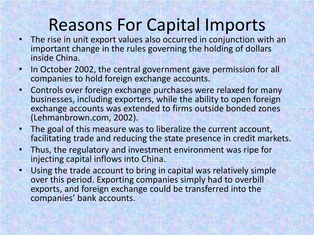 Reasons For Capital Imports