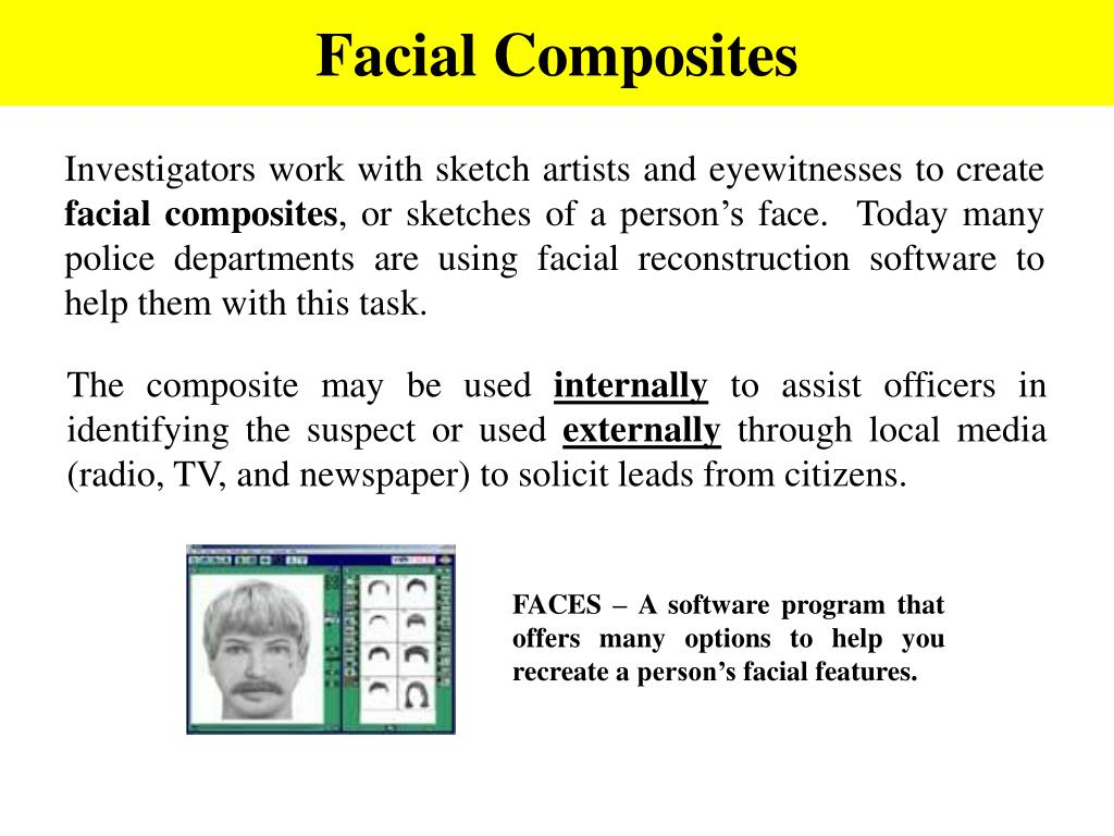 FACES – A software program that offers many options to help you recreate a person's facial features.