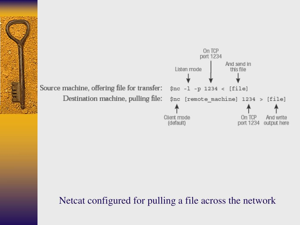Netcat configured for pulling a file across the network