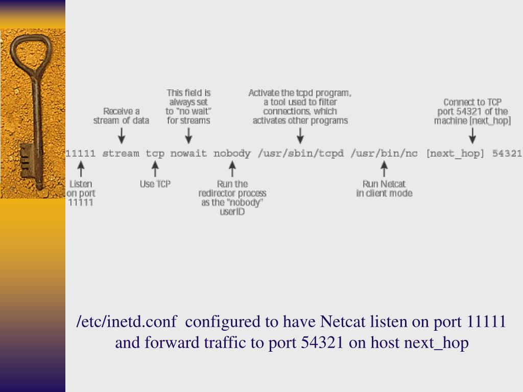 /etc/inetd.conf  configured to have Netcat listen on port 11111 and forward traffic to port 54321 on host next_hop