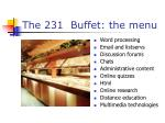 the 231 buffet the menu