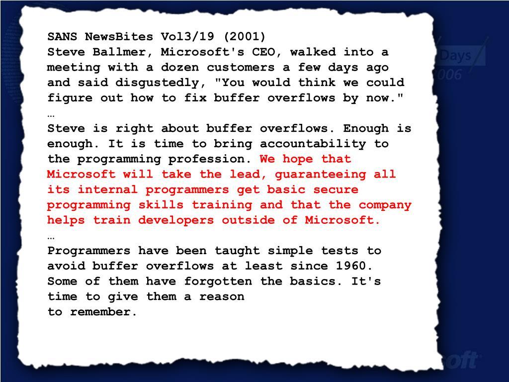 SANS NewsBites Vol3/19 (2001)