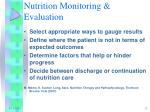nutrition monitoring evaluation