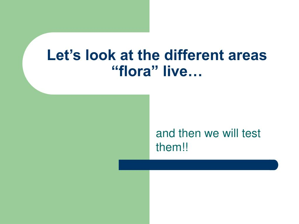 """Let's look at the different areas """"flora"""" live…"""