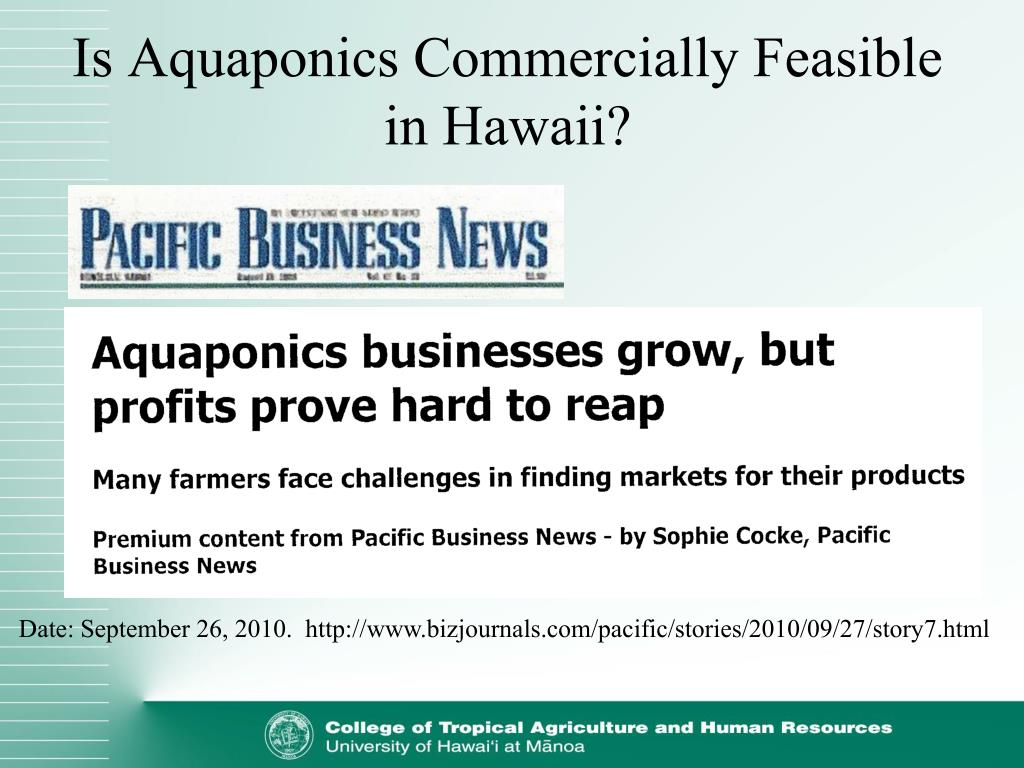 Is Aquaponics Commercially Feasible in Hawaii?