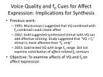 voice quality and f 0 cues for affect expression implications for synthesis