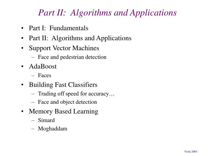 Part ii algorithms and applications