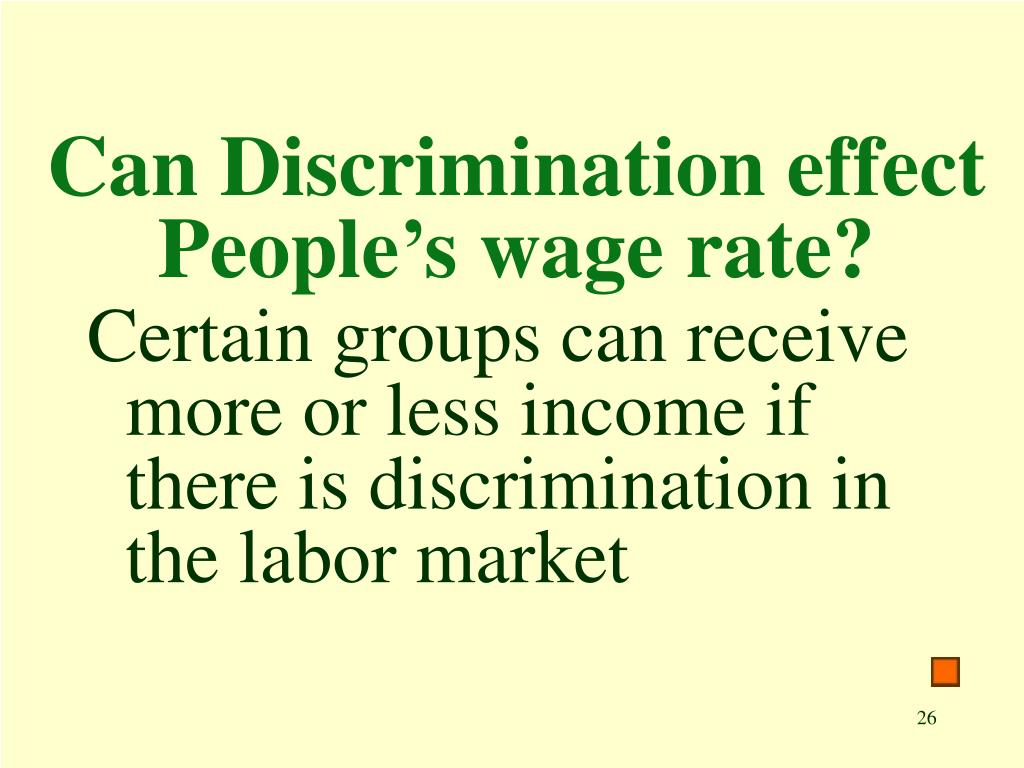 Can Discrimination effect People's wage rate?