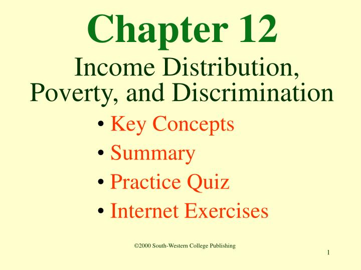 Chapter 12 income distribution poverty and discrimination
