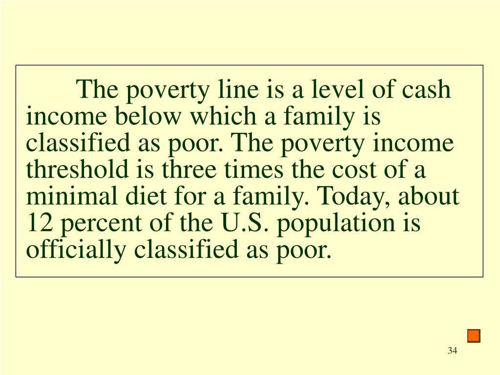 The poverty line is a level of cash income below which a family is classified as poor. The poverty income threshold is three times the cost of a minimal diet for a family. Today, about 12 percent of the U.S. population is officially classified as poor.