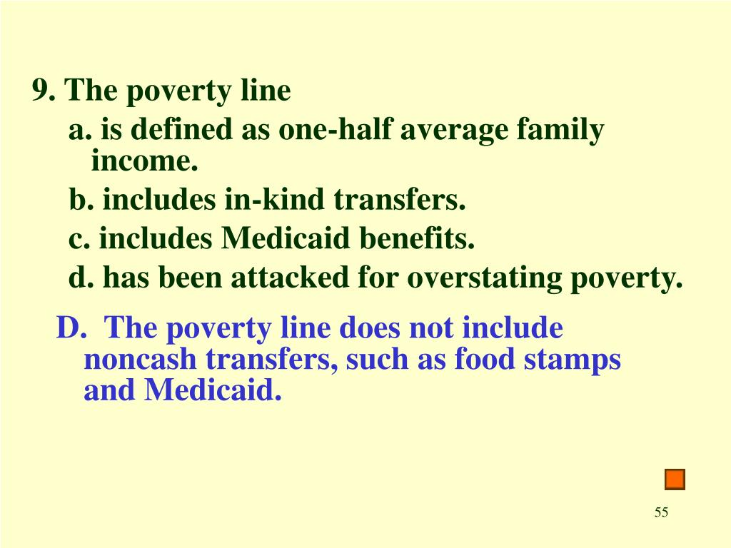 9. The poverty line