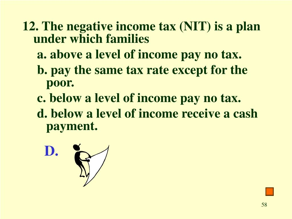12. The negative income tax (NIT) is a plan under which families