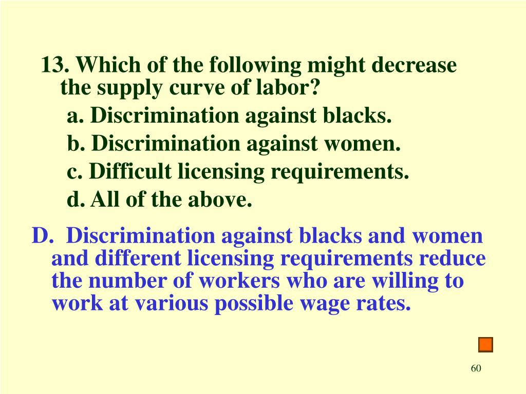 13. Which of the following might decrease the supply curve of labor?