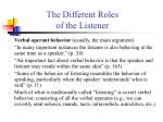 the different roles of the listener14