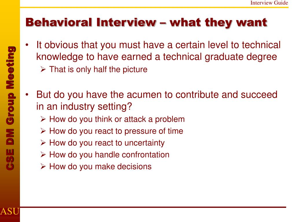 Behavioral Interview – what they want