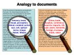 analogy to documents