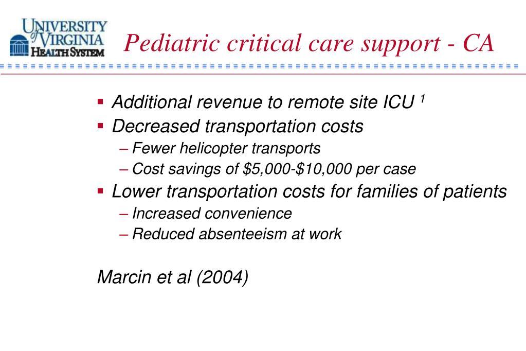 Pediatric critical care support - CA